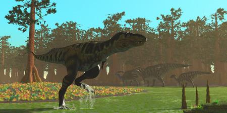 carnivore: Bistahieversor Dinosaur - Parasaurolophus dinosaurs head the other way as a Bistahieversor carnivore splashes through a swampy area.