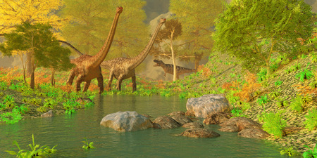 jurassic: Deep Forest Dinosaurs - Two Diplodocus dinosaurs bellow in alarm as a theropod Ceratosaurus tries to sneak up behind them.