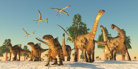 Dinosaur Droogte Migratie - Quetzalcoatlus vliegende reptielen meedoen Tenontosaurus en Argentinosaurus dinosaurussen op een migratie op zoek naar water. Stockfoto