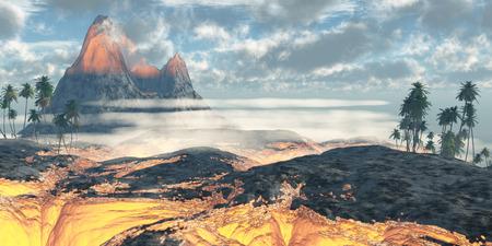 ハワイ溶岩フィールド - ハワイ島の活火山赤い熱い溶岩の層で包まれています。