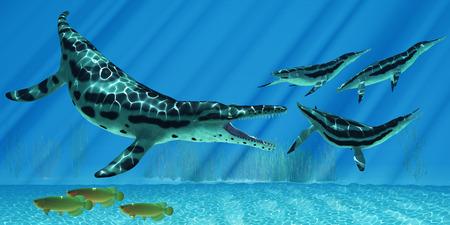 Kronosaurus Marine Reptile - A pod of Dolichorhynchops try to escape from a huge Kronosaurus marine reptile as Asian Arowana fish swim the other way.