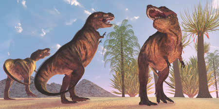 Tyrannosaurus Dinosaur Wilderness - Tyrannosaurus Rex dinosaurs have a growling session in the Cretaceous Period.
