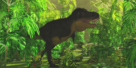 Tyrannosaurus Jungle - Thick jungle foliage hides a large Tyrannosaurus Rex dinosaur as he hunts for prey.