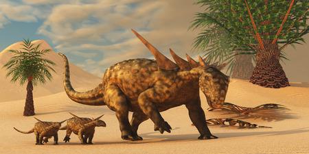 the offspring: Dinosaurio Sauropelta en el desierto - Una madre Sauropelta lleva su descendencia en una zona des�rtica de Am�rica del Norte en el Per�odo Cret�cico. Foto de archivo