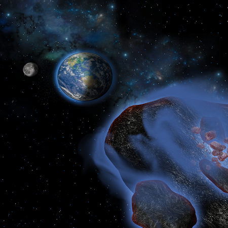 ruin: Several asteroids hurtle toward Earth on a path of devastation and ruin.