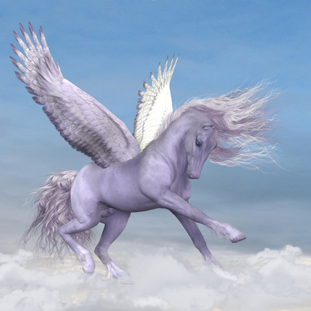 Silver white Pegasus plays and frolics amoung fluffy cumulus clouds.