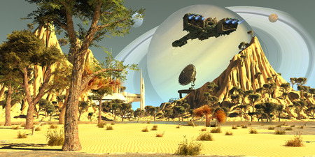 After terraforming Saturns moon Titan, Earth colonists set up a spaceport for incoming spaceships. Banco de Imagens