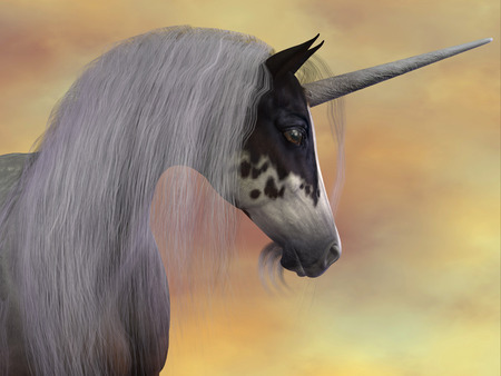 cloven: A Unicorn is a creature of fantasy and mythology which has a horn on its head, a lions tail and cloven hooves.