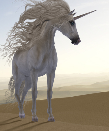 cloven: Desert Dune Unicorn - A Unicorn is a creature of fantasy and mythology which has a horn on its head and cloven hooves.