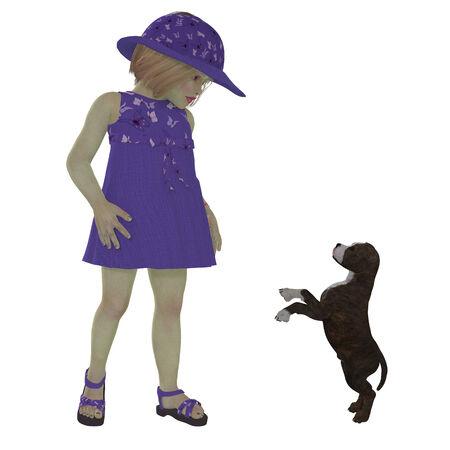 ni�o modelo: Eliza y Staffordshire perrito - Eliza en un vestido p�rpura lindo y sombrero juega con un cachorro de Staffordshire. Foto de archivo