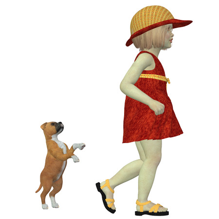 mans best friend: Eliza with Boxer Puppy - A Boxer puppy still wants to play as Eliza in an orange dress and hat is called by mom to come home. Stock Photo