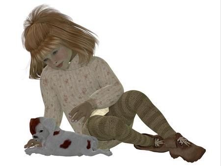 Joyce and King Charles Spaniel - Joyce in a sweater and tights plays with a King Charles Spaniel puppy.