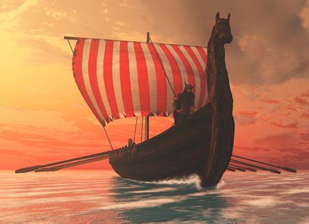 Viking Mann und Langschiff - Ein Wikingerschiff segelt zu neuen Ufern zu Handelszwecken und Kameradschaft. Standard-Bild