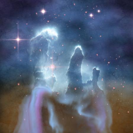 Pilares de la Creación - Pilares de la Creación son parte de la Nebulosa del Águila y están hechos de polvo y gases interestelares. Foto de archivo - 35639269
