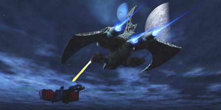 combate: Lucha Espacial - Una nave espacial m�s ligera y maniobrable bombardea un rayo l�ser hacia un acorazado enemigo. Foto de archivo