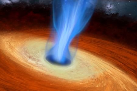 zwart gat: Super Massive Black Hole - Een zwart gat is een afgebakend gebied van de ruimtetijd die geen licht reflecteert en is te vinden in het midden van sterrenstelsels. Stockfoto