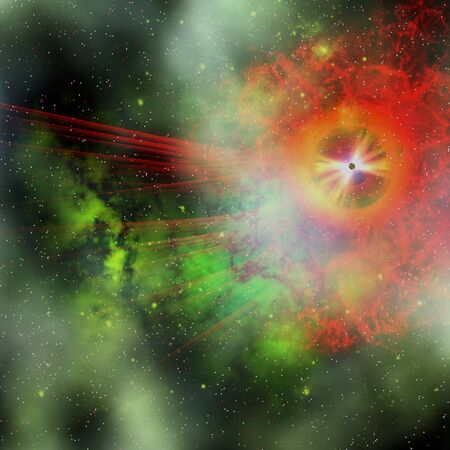masses: Super Massive Star - A star having the mass of more than 8 solar masses has a short life and ends in a supernova explosion. Stock Photo