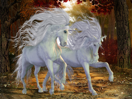 Unicorn Brothers - Beautiful magical Unicorn stags prance on a forest road in the autumn season. 写真素材