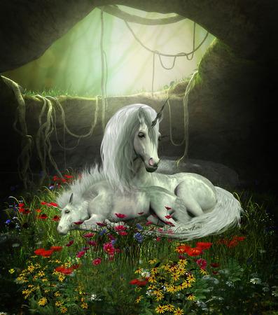 Eenhoorn Merrie en Veulen - Een eenhoorn moeder bewaakt haar veulen als ze slapen in een magisch bos grot vol met bloemen.