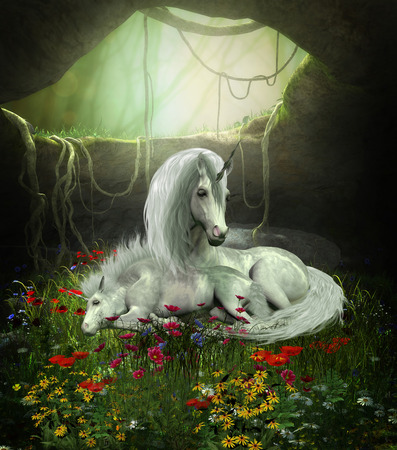 horsepower: Unicorn Mare and Foal - A Unicorn mother guards her foal as they sleep in a magical forest cavern full of flowers. Stock Photo
