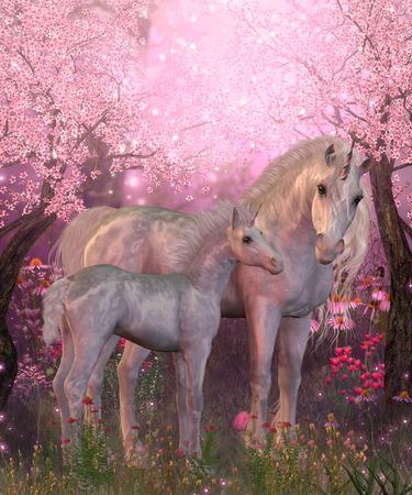 화이트 유니콘 마레와 새끼 - 봄은 벚꽃 꽃이 만발한 나무 아래 휴식 흰색 유니콘 암말과 새끼를 찾습니다.