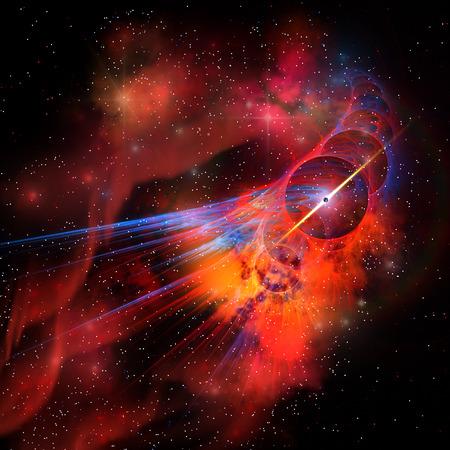 interstellar: Bubble Nebula - A nebula is a collection of colorful gasses, dust, stars and interstellar matter. Stock Photo