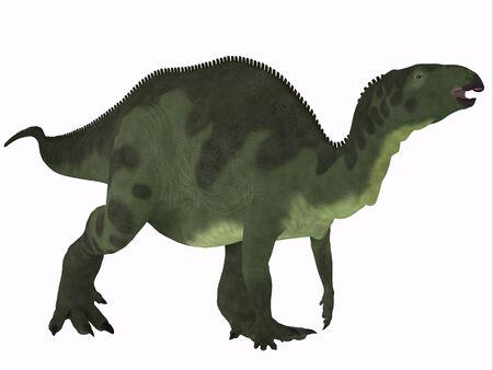 Camptosaurus over White - Camptosaurus was a herbivorous dinosaur that lived in the Jurassic Period of North America. Stock Photo