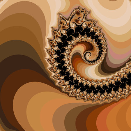 depiction: Morning Coffee - An abstract fractal design representing a cup of morning coffee with swirls of cream  in golden colors.
