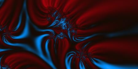 depiction: Red Blue Velvet - An abstract fractal design representing silk or velvet material in red, striking blue and black colors.