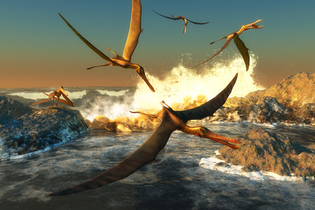 triassic: Anhanguera Fishing - A flock of Anhanguera flying dinosaur reptiles catch fish off a rocky coast in prehistoric times.