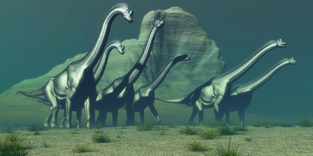 sauropod: Brachiosaurus Bluff - A herd of Brachiosaurus dinosaurs pass a high bluff in their search for a forest of trees for grazing.
