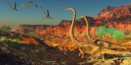 era: Omeisaurus Dinosaurs - A flock of Pterosaurs fly past two Omeisaurus dinosaurs during the Jurassic Era.