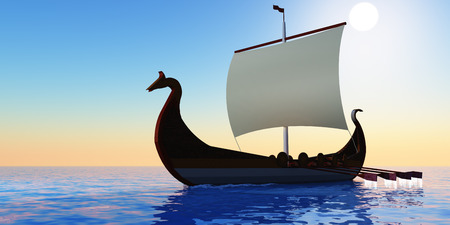 Viking Voyage - The Viking civilization explored many countries in the Northern Atlantic ocean with longboats. photo