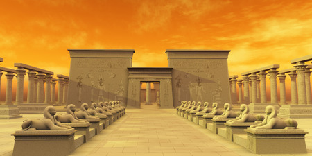 egyptian culture: Temple of Isis - The ancient Egyptian civilization erected many temples to worship their gods. This one is dedicated to their god called Isis. Stock Photo