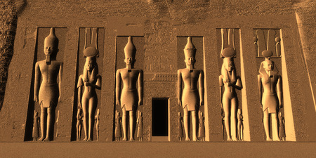 ancient civilization: Temple of Nefertari - Egyptian Nefertari was one of the Great Royal Wives and the most beloved by Ramesses the Great. Stock Photo