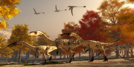 triassic: Coelophysis Hunting - Three flying Eudimorphodons pass a group of Coelophysis hunting for prey through a forest of autumn trees in the Triassic Period.