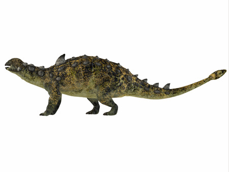 behemoth: Euoplocephalus over White - Euoplocephalus was a armored herbivorous dinosaur that lived in the Cretaceous Period of Canada. Stock Photo