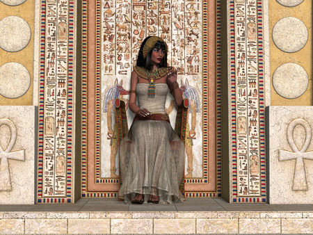 trono: Princesa egipcia Trono Un joven princesa egipcia se sienta en un trono en el Imperio Antiguo rodeada de jeroglíficos. Foto de archivo