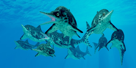 triassic: Ichthyosaur Hunting Group  Ichthyosaur was a marine carnivorous reptile that lived in the oceans of Jurassic and Triassic Periods. Stock Photo