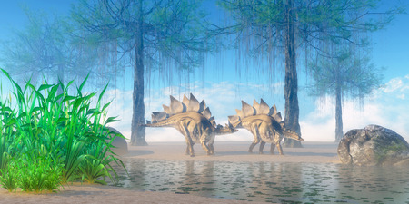 jurassic: Stegosaurus Morning  A Jurassic misty morning finds a pair of Stegosaurus herbivorous dinosaurs walking near a pond. Stock Photo