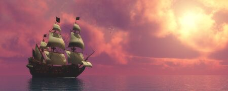 Galleon Ship with Sails   Sunset skies find a galleon ship sailing on rosy ocean waters to a far port destination. Stock fotó