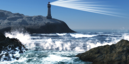 lightbeam: Moorehead Lighthouse    A lighthouse on a steep cliff sends out a lightbeam to warn of danger to passing ships