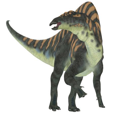 cretaceous: Ouranosaurus Herbivore Dinosaur    Ouranosaurus was a herbivorous hadrosaur dinosaur that lived during the Cretaceous Period of Africa. Stock Photo