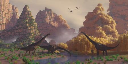 프 테로 닥틸 루스 파충류가 날고으로 Sauroposeidon 공룡 Sauroposeidon 공룡의 무리가 마시는 강에서 중지합니다. 스톡 콘텐츠