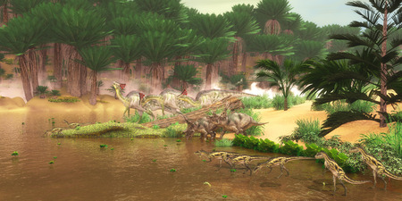 paleontology: Cretaceous Dinosaur River    A serene look at a Cretaceous river with many different dinosaurs coming for a drink of water including Diabloceratops Olorotitan and Deltadromeus. Stock Photo