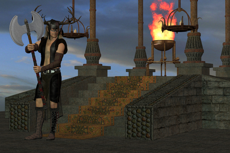 carry out: Wicked Shrine - A tribal warrior waits at a shrine for others from his village to carry out a ritual.