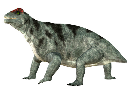 primeval: Moschops Side Profile - Moschops was a primeval herbivorous dinosaur that lived in South Africa in the Permian Period. Stock Photo