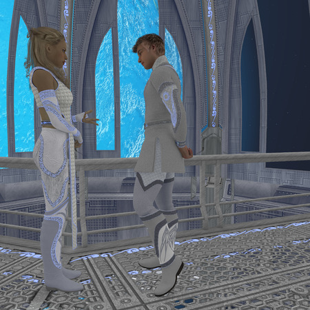 manful: Off-Planet Residence - A couple that live and work on Earths space station engage in a deep discussion. Stock Photo