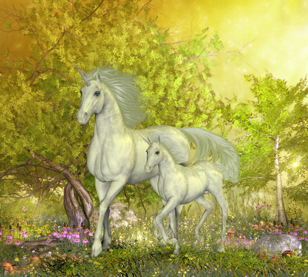 colt: Unicorns in Glen - A white mother unicorn leads her colt through the magical forest full of spring flowers. Stock Photo