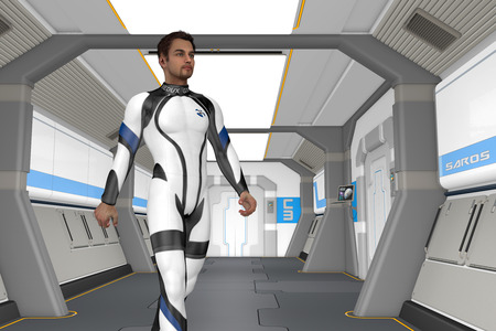 manlike: Holodeck Corridor - One of the crew walks through one of the corridors in the ship to get to the holodeck. Stock Photo